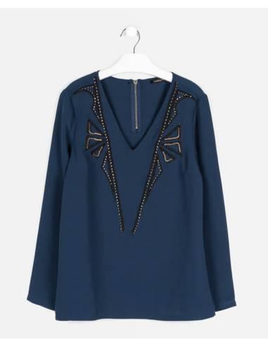 Blusa COLORBLOCK azul marino talla M