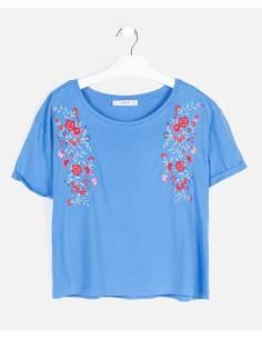 Camiseta MANGO azul floral...