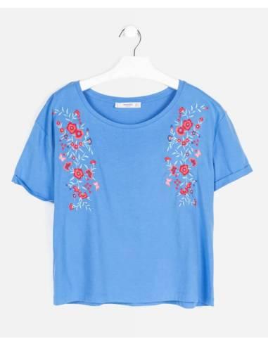 Camiseta MANGO azul floral talla S